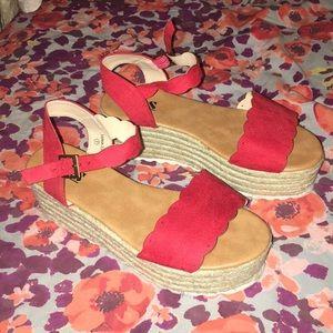 Shoes - Red platform Sandals